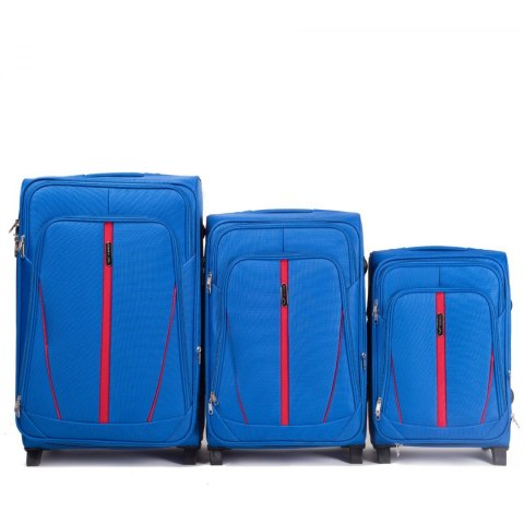 1706(2), Sets of 3 suitcases Wings 4 wheels L,M,S, Light blue