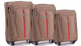 1706(4), Sets of 3 suitcases Wings 4 wheels L,M,S, Double yellow