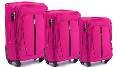 1706(4), Sets of 3 suitcases Wings 4 wheels L,M,S, Rose red