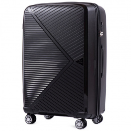 PP06, Large travel suitcase Wings L, Black - Polypropylene