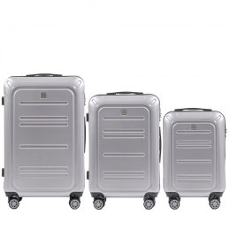 100 % POLICARBON / PC175, Sets of 3 suitcases L,M,S, Silver / 5 years warranty