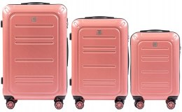 100 % POLICARBON / PC175, Sets of 3 suitcases L,M,S, Pink / 5 years warranty