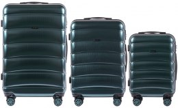 100 % POLICARBON / PC160, Sets of 3 suitcases L,M,S, Dark green / 5 years warranty