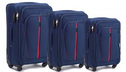 1706(4), Sets of 3 suitcases Wings 4 wheels L,M,S, Blue