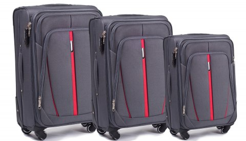 1706(4), Sets of 3 suitcases Wings 4 wheels L,M,S, Dark grey