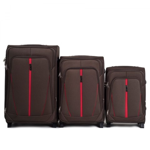 1706(2), Sets of 3 suitcases Wings 4 wheels L,M,S, Coffee