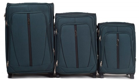 1706(2), Sets of 3 suitcases Wings 4 wheels L,M,S, Dark Green