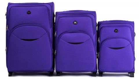 1708(2), Sets of 3 suitcases Wings 4 wheels L,M,S, Purple