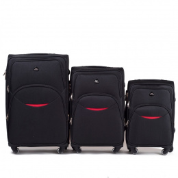 1708(4), Sets of 3 suitcases Wings 4 wheels L,M,S, Black