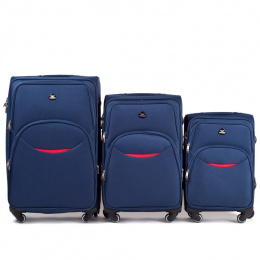 1708(4), Sets of 3 suitcases Wings 4 wheels L,M,S, Blue