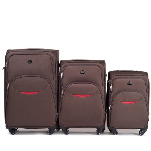 1708(4), Sets of 3 suitcases Wings 4 wheels L,M,S, Coffee