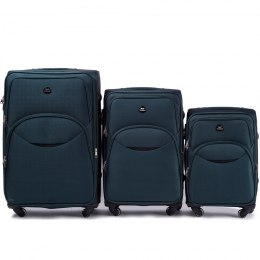 1708(4), Sets of 3 suitcases Wings 4 wheels L,M,S, Green