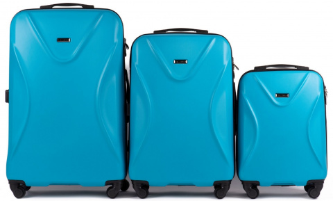 518, Luggage 3 sets (L,M,S) Wings, Cyan