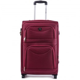 6802(2), Middle soft travel suitcase 2 wheels Wings M, Dark red