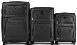 6802(2), Sets of 3 suitcases Wings 2 wheels L,M,S, Black