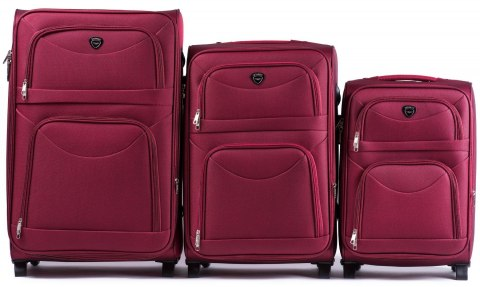 6802(2), Sets of 3 suitcases Wings 2 wheels L,M,S, Double red
