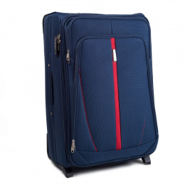 1706, Large soft travel suitcase 2 wheels Wings L, Blue