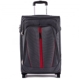 1706(2), Middle soft travel suitcase 2 wheels Wings M, Dark Grey