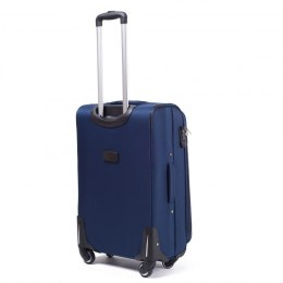 1706, Middle soft travel suitcase 4 wheels Wings M, Blue