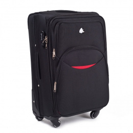 1708(4), Large soft travel suitcase 4 wheels Wings L, Black