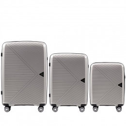 100 % POLYPROPYLENE /PP06, Luggage 3 sets (L,M,S) Wings, Beige