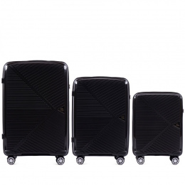 100 % POLYPROPYLENE /PP06, Luggage 3 sets (L,M,S) Wings, Black