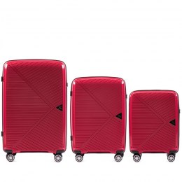 100 % POLYPROPYLENE /PP06, Luggage 3 sets (L,M,S) Wings, Red