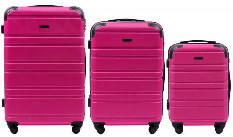 608, Luggage 3 sets (L,M,S) Wings, Pink
