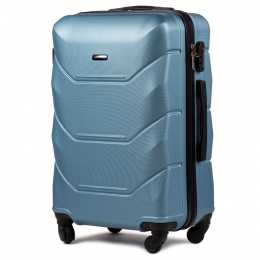 147, Large travel suitcase Wings L,, Silver Blue