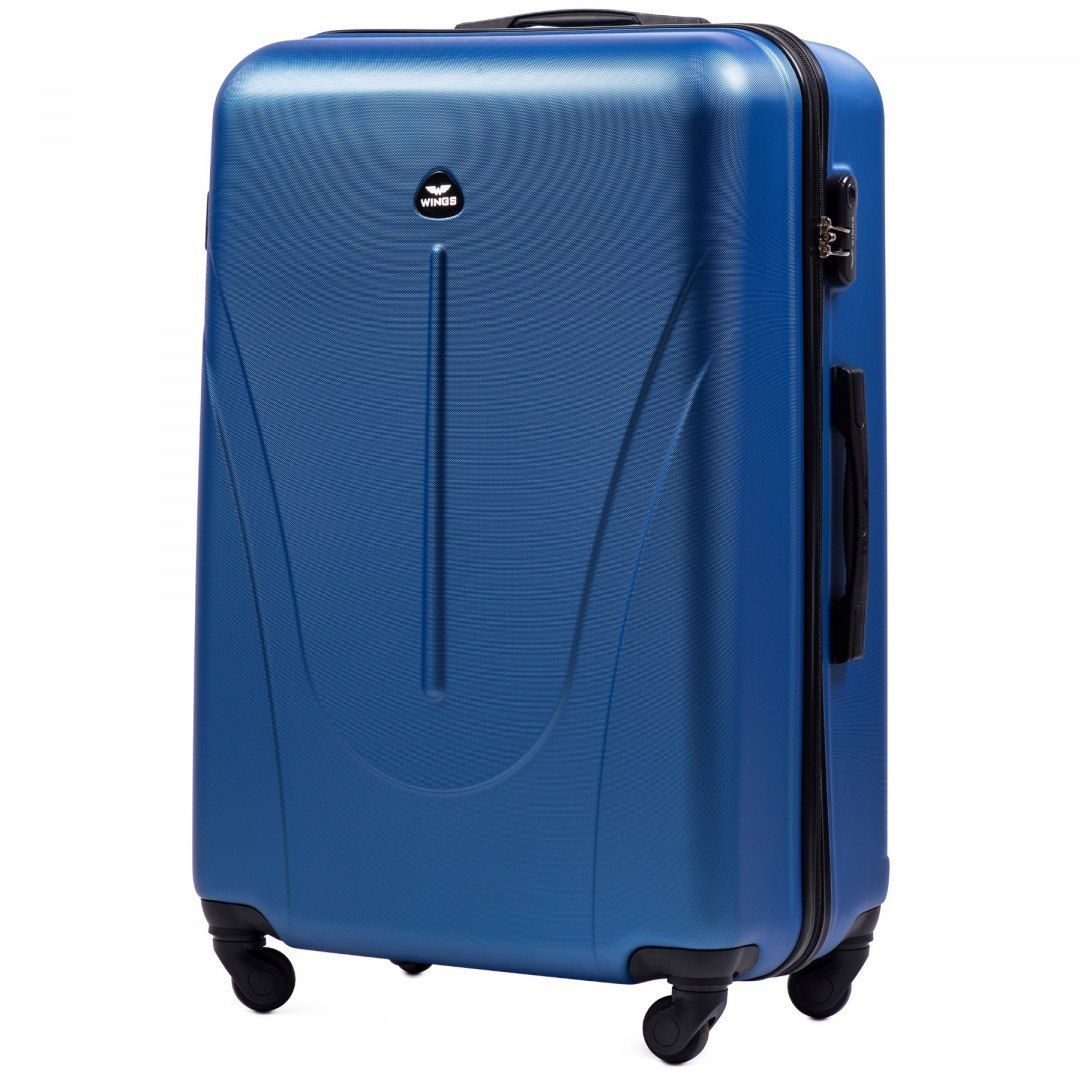 888, Large travel suitcase Wings L, Middle blue