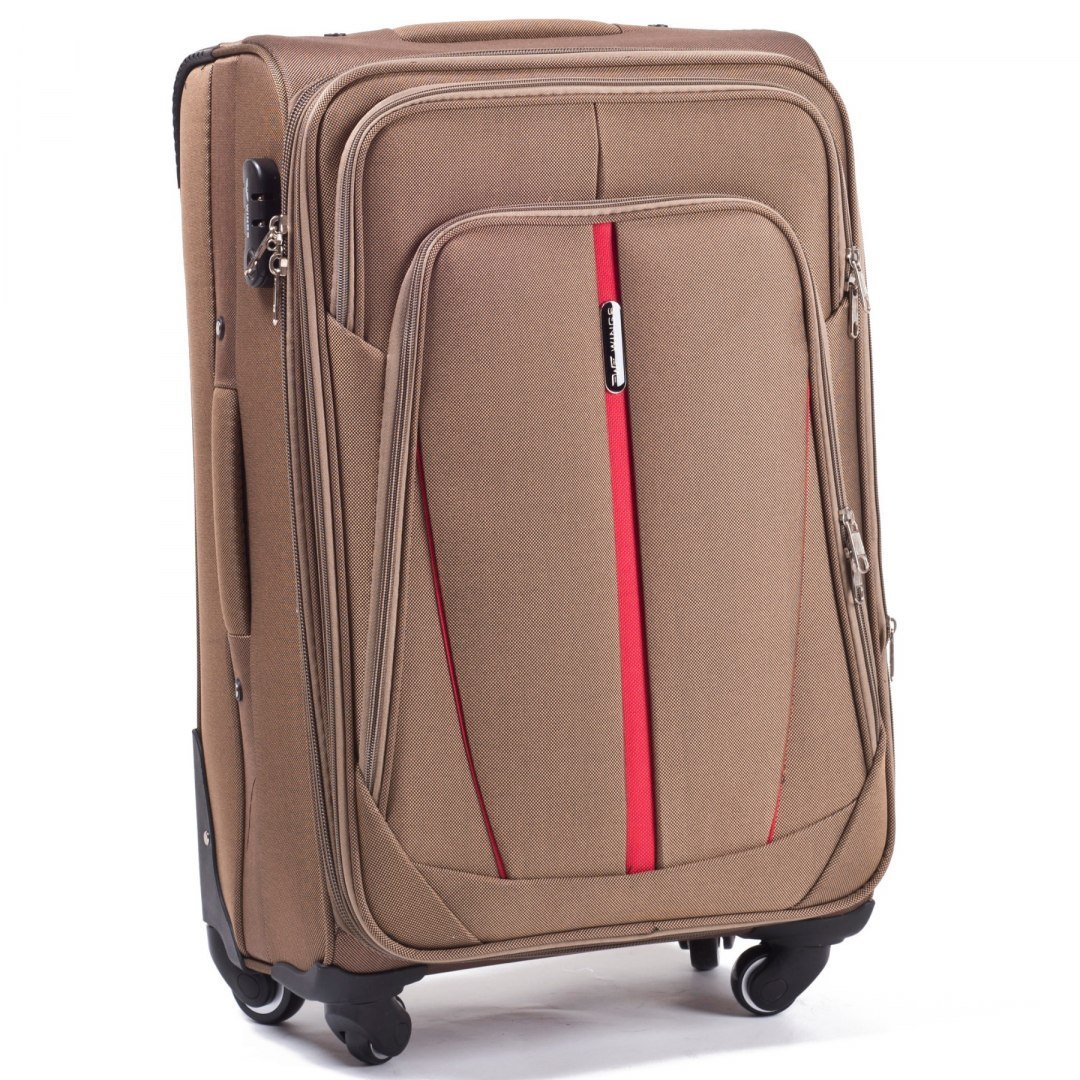 1706(4), Middle soft travel suitcase 4 wheels Wings M, Double yellow