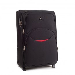 1708(2), Large soft travel suitcase 2 wheels Wings L, Black