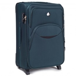 1708(2), Large soft travel suitcase 2 wheels Wings L, Dark green