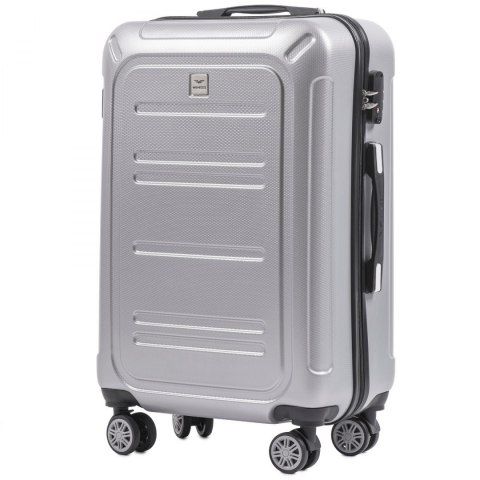 100 % POLICARBON / PC175, Middle size suitcase Wings M, Silver/ 5 years warranty