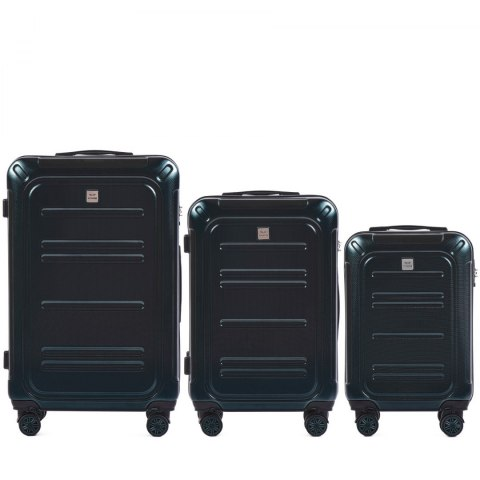 100 % POLICARBON / PC175, Sets of 3 suitcases L,M,S, Green / 5 years warranty