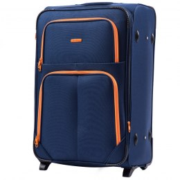 214 (2), Large soft travel suitcase 2 wheels Wings L, Blue