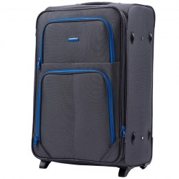 214 (2), Large soft travel suitcase 2 wheels Wings L, Double Grey