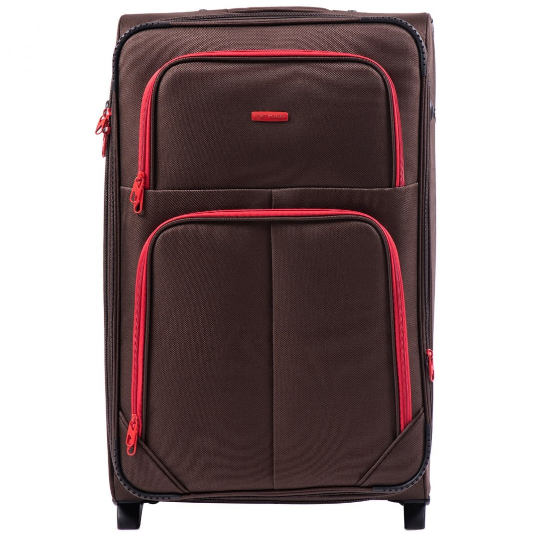 214 (2), Large soft travel suitcase 2 wheels Wings L, Coffee