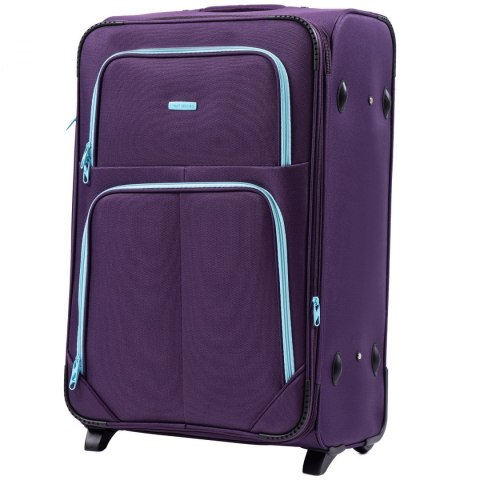 214 (2), Large soft travel suitcase 2 wheels Wings L, Purple