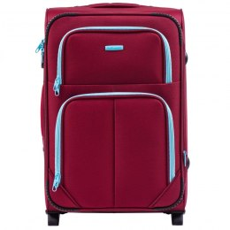 214 (2), Medium soft travel suitcase 2 wheels Wings M, Red