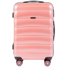 100 % POLICARBON / PC 160, Middle size suitcase Wings M, Pink/ 5 years warranty
