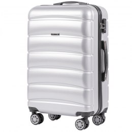 100 % POLICARBON / PC 160, Middle size suitcase Wings M, Silver/ 5 years warranty