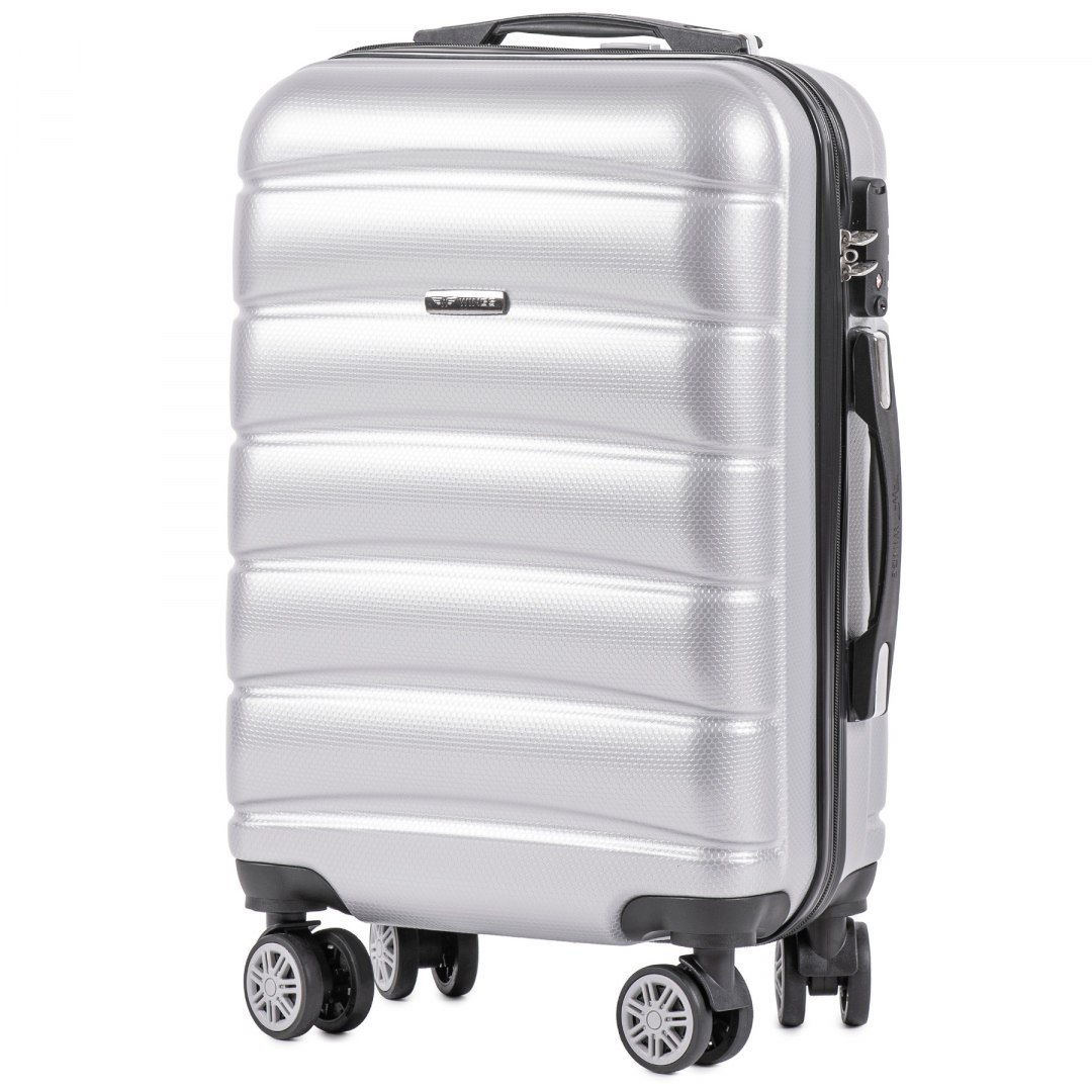 100 % POLICARBON / PC 160 ,Cabin suitcase Wings S, Silver/ 5 years warranty