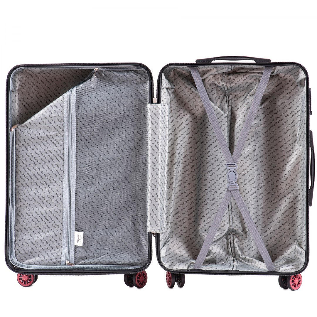 100 % POLICARBON / PC 185, Middle size suitcase Wings M, Dark blue / 5 years warranty