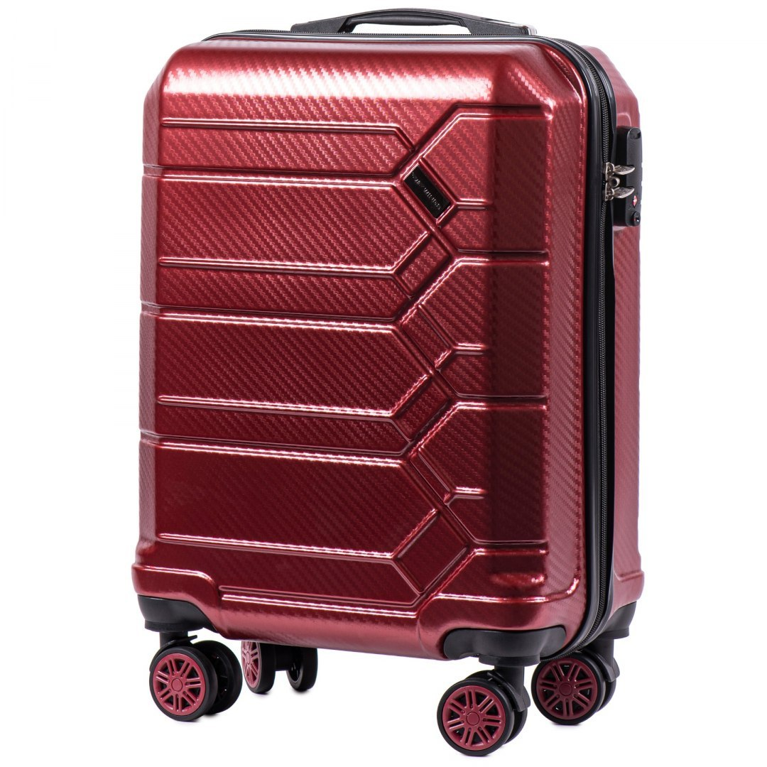 100 % POLICARBON / PC 185 ,Cabin suitcase Wings S, Wine red/ 5 years warranty