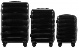 100 % POLICARBON / PC160, Sets of 3 suitcases L,M,S, Black / 5 years warranty