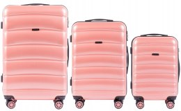 100 % POLICARBON / PC160, Sets of 3 suitcases L,M,S, Pink / 5 years warranty
