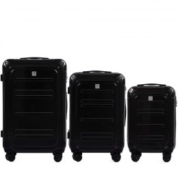 100 % POLICARBON / PC175, Sets of 3 suitcases L,M,S, Black / 5 years warranty