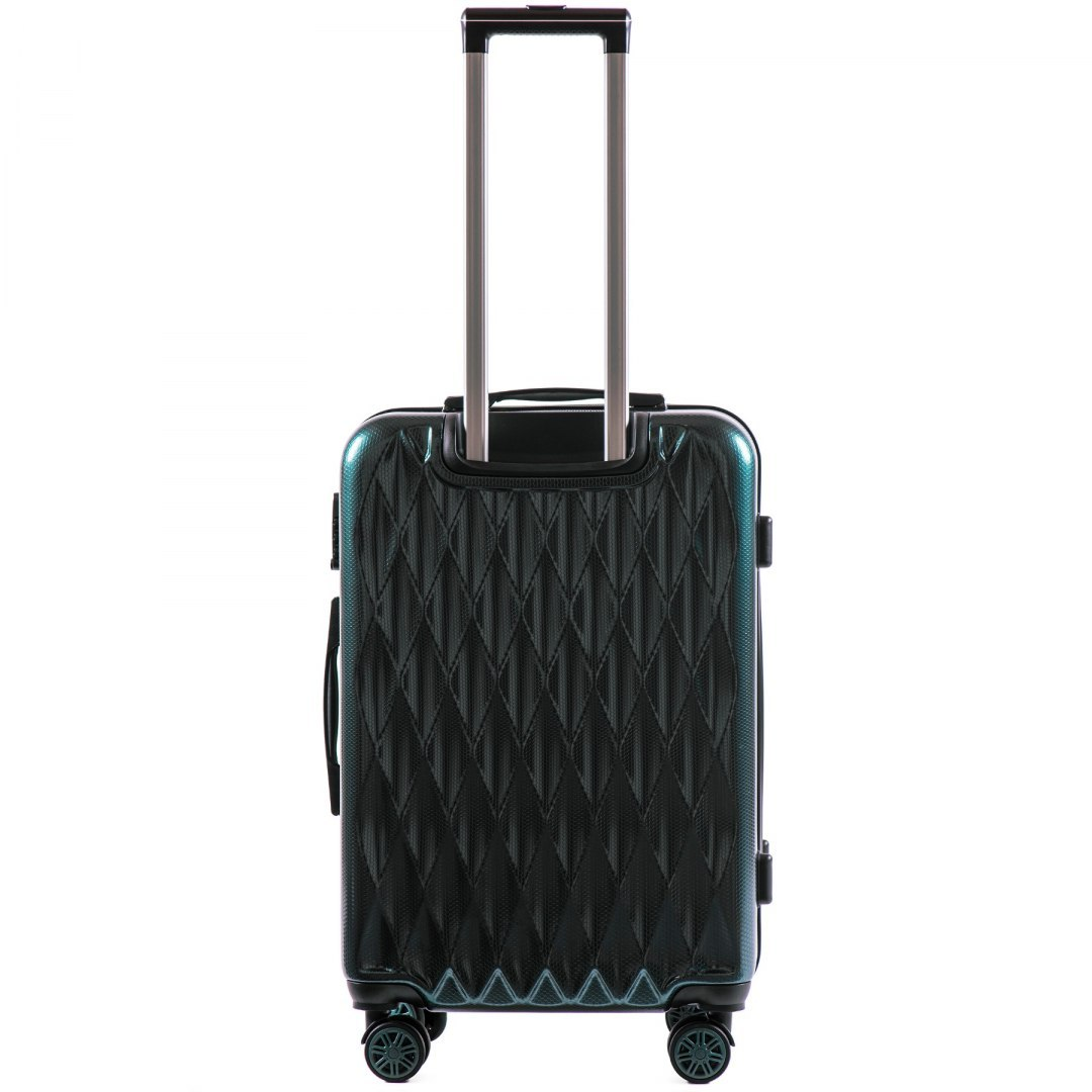 100 % POLICARBON / PC190, Middle size suitcase Wings M, Dark green/ 5 years warranty