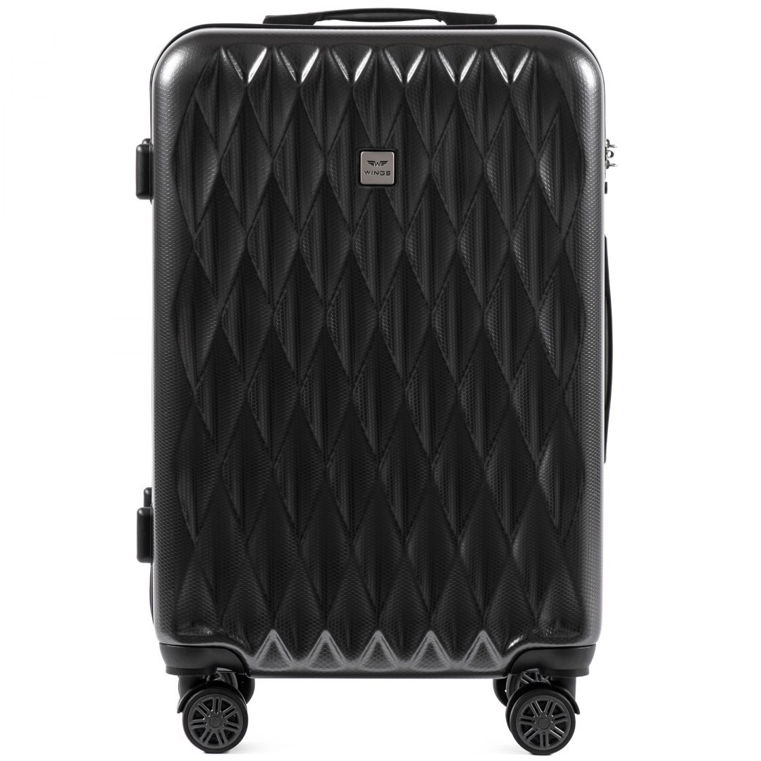 100 % POLICARBON / PC190, Middle size suitcase Wings M, Dark grey / 5 years warranty
